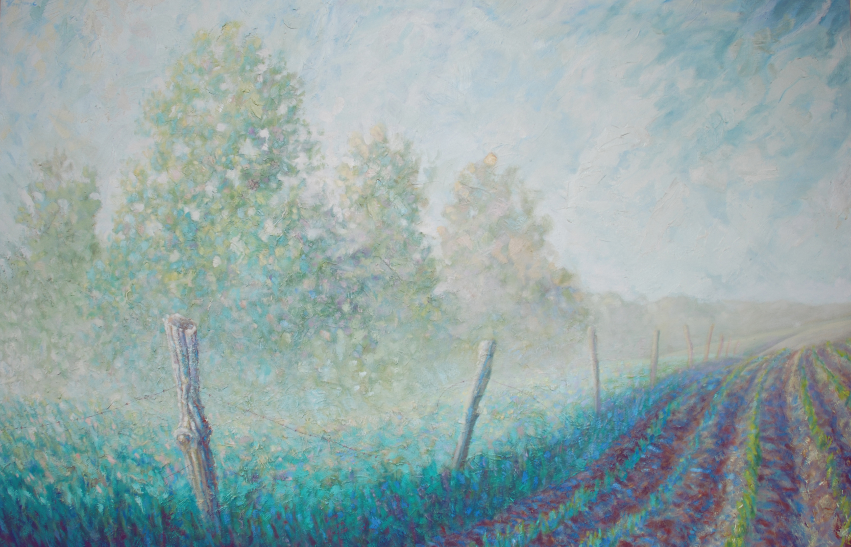 Viridian Morning. Oil on Canvas. 40x60 inches. 2016. Accepted into Art For Life Fundraiser. Columbus, Ohio. This year's sponsor is Pizzuti Collection.